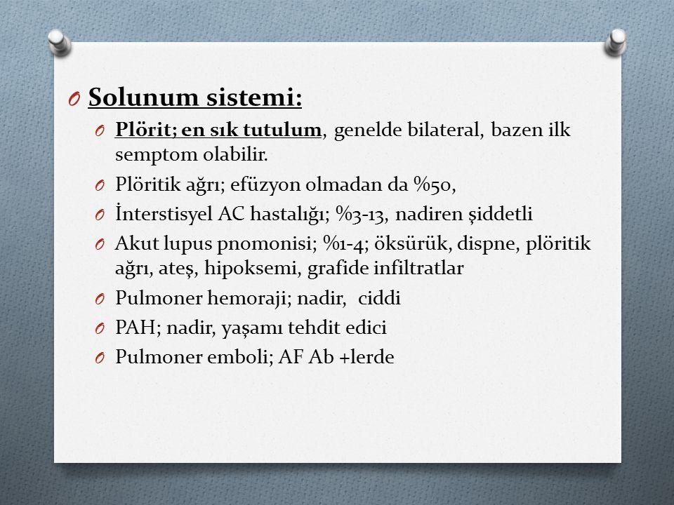 O Solunum sistemi: O Plörit; en sık tutulum, genelde bilateral, bazen ilk semptom olabilir.
