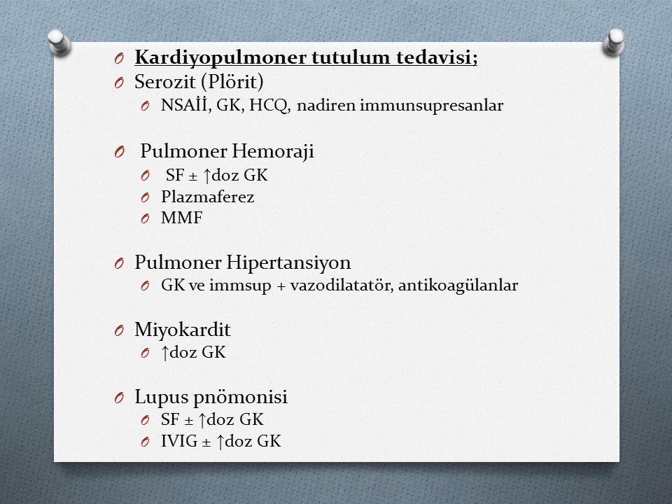 O Kardiyopulmoner tutulum tedavisi; O Serozit (Plörit) O NSAİİ, GK, HCQ, nadiren immunsupresanlar O Pulmoner Hemoraji O SF ± ↑ doz GK O Plazmaferez O MMF O Pulmoner Hipertansiyon O GK ve immsup + vazodilatatör, antikoagülanlar O Miyokardit O ↑ doz GK O Lupus pnömonisi O SF ± ↑ doz GK O IVIG ± ↑ doz GK