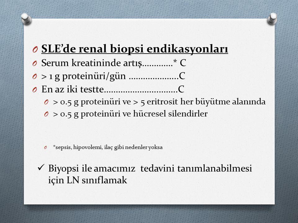 O SLE'de renal biopsi endikasyonları O Serum kreatininde artış………….* C O > 1 g proteinüri/gün ………………...C O En az iki testte…………………..……..C O > 0.5 g proteinüri ve > 5 eritrosit her büyütme alanında O > 0.5 g proteinüri ve hücresel silendirler O *sepsis, hipovolemi, ilaç gibi nedenler yoksa Biyopsi ile amacımız tedavini tanımlanabilmesi için LN sınıflamak