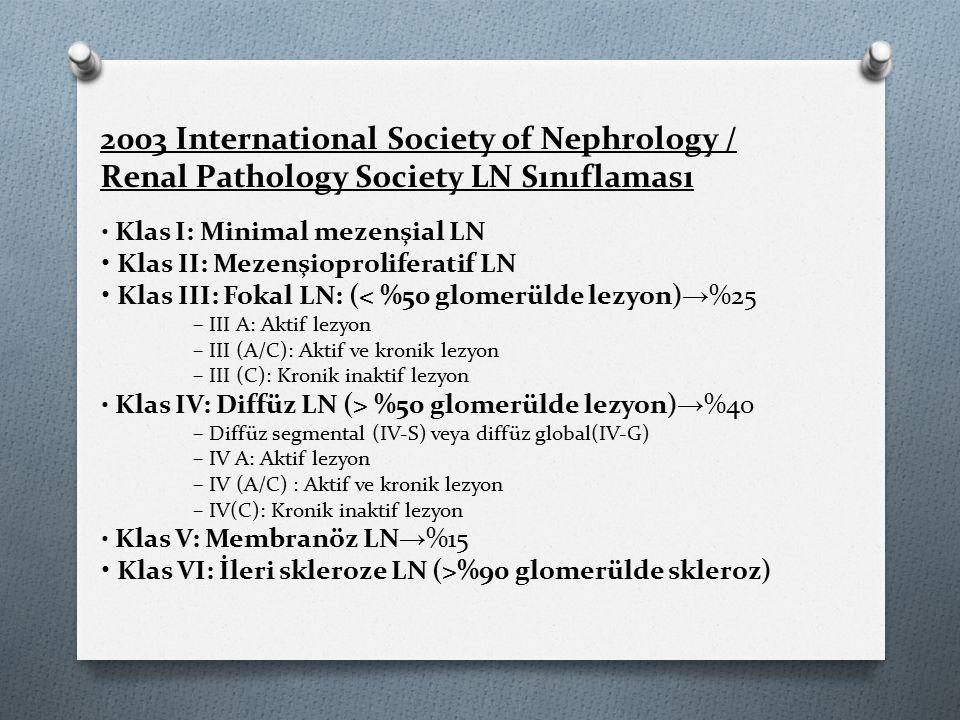Klas I: Minimal mezenşial LN Klas II: Mezenşioproliferatif LN Klas III: Fokal LN: (< %50 glomerülde lezyon) → %25 – III A: Aktif lezyon – III (A/C): Aktif ve kronik lezyon – III (C): Kronik inaktif lezyon Klas IV: Diffüz LN (> %50 glomerülde lezyon) → %40 – Diffüz segmental (IV‐S) veya diffüz global(IV‐G) – IV A: Aktif lezyon – IV (A/C) : Aktif ve kronik lezyon – IV(C): Kronik inaktif lezyon Klas V: Membranöz LN → %15 Klas VI: İleri skleroze LN (>%90 glomerülde skleroz) 2003 International Society of Nephrology / Renal Pathology Society LN Sınıflaması