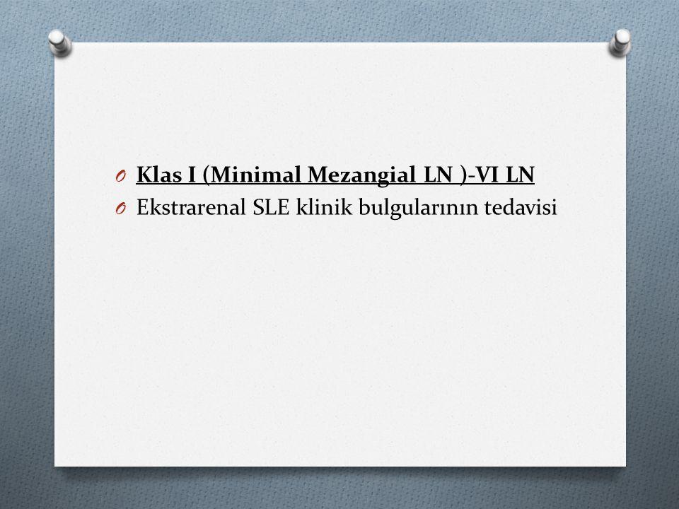 O Klas I (Minimal Mezangial LN )-VI LN O Ekstrarenal SLE klinik bulgularının tedavisi