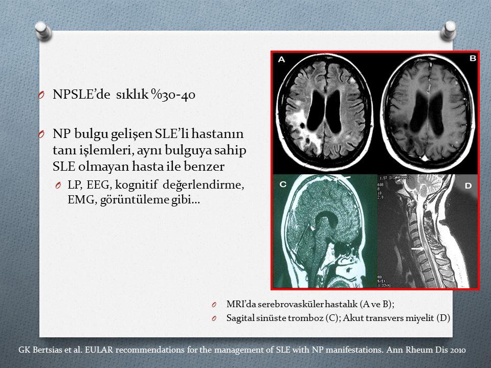 O NPSLE'de sıklık %30-40 O NP bulgu gelişen SLE'li hastanın tanı işlemleri, aynı bulguya sahip SLE olmayan hasta ile benzer O LP, EEG, kognitif değerlendirme, EMG, görüntüleme gibi… GK Bertsias et al.