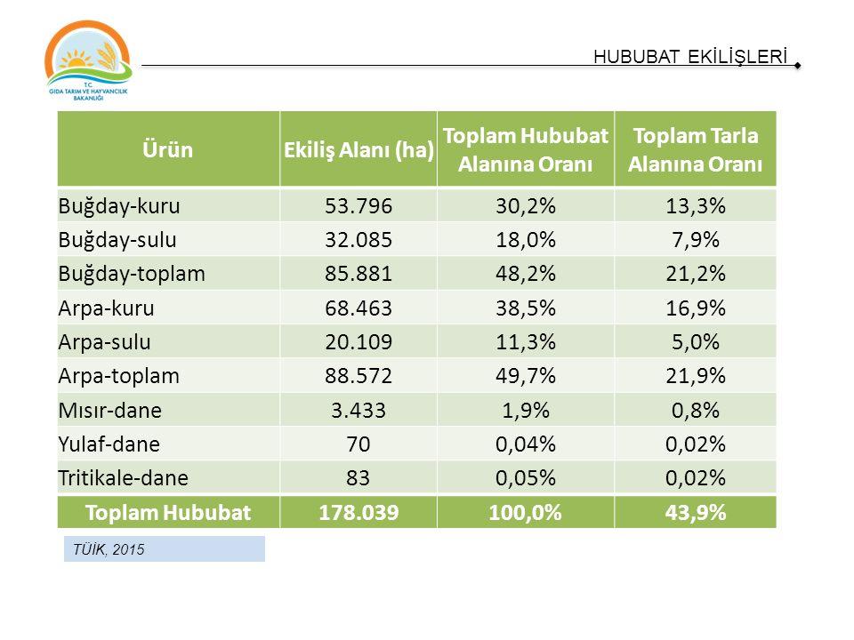 TÜİK, 2015 HUBUBAT EKİLİŞLERİ ÜrünEkiliş Alanı (ha) Toplam Hububat Alanına Oranı Toplam Tarla Alanına Oranı Buğday-kuru53.79630,2%13,3% Buğday-sulu32.08518,0%7,9% Buğday-toplam85.88148,2%21,2% Arpa-kuru68.46338,5%16,9% Arpa-sulu20.10911,3%5,0% Arpa-toplam88.57249,7%21,9% Mısır-dane3.4331,9%0,8% Yulaf-dane700,04%0,02% Tritikale-dane830,05%0,02% Toplam Hububat178.039100,0%43,9%
