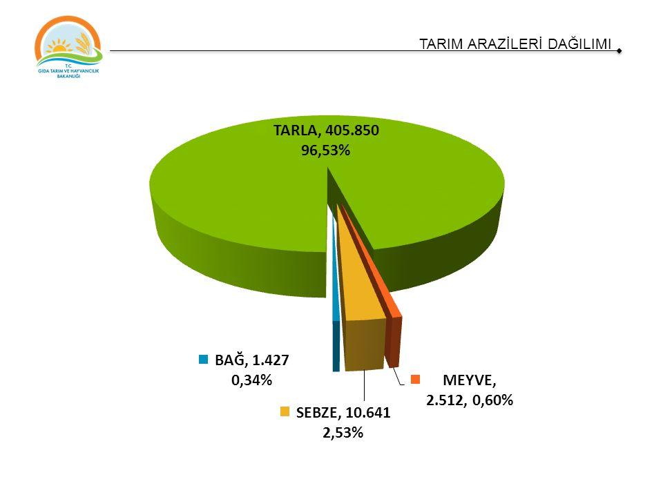 Arazinin NiteliğiAlanı (ha)Oranı (%) Tarım Arazisi420.43052,6 Mera – Çayır Arazisi179.12921,8 Orman (doğal + yapay)22.7672,8 Tarım Dışı Arazi (yerleşim yerleri, dağlık alanlar, tuz gölü havzası dahil) 131.37416,4 Su Yüzeyleri51.0826,4 Toplam799.700100 Tarım Arazisi (2014)Alanı (ha)Oranı (%) Tarla Arazisi405.850 96,5% Meyvelik2.512 0,6% Sebzelik10.641 2,5% Bağ Alanı1.427 0,3% Toplam420.430100 TÜİK, 2015 TARIM ARAZİLERİ DAĞILIMI