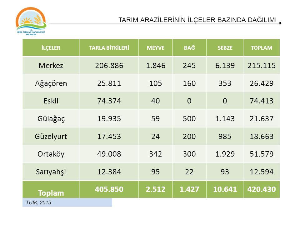Ürün İlimizdeki Üretim Miktarı (ton) Türkiye Üretimine Oranı (%) Türkiye Sıralaması Tarımsal Üretim Değeri (1.000 TL) Yonca 1.155.4838.22 519.967 Şekerpancarı 995.8056.043 199.161 Kabak (çerezlik) 3.676 8.83429.408 Arpa 327.622 4.075 212.954 Patates 242.3025.089 181.756 İLİMİZ TARIMININ STRATEJİK ÜRÜNLERİ TÜİK, 2015
