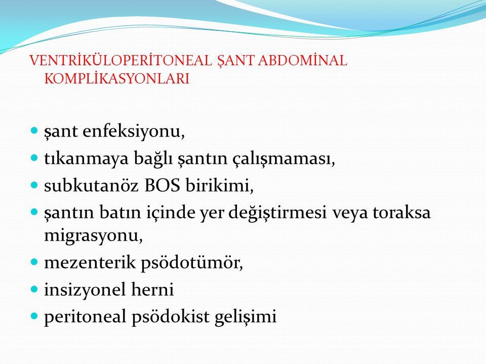 VENTRİKÜLOPERİTONEAL ŞANT ABDOMİNAL KOMPLİKASYONLARI şant enfeksiyonu, tıkanmaya bağlı şantın çalışmaması, subkutanöz BOS birikimi, şantın batın içinde yer değiştirmesi veya toraksa migrasyonu, mezenterik psödotümör, insizyonel herni peritoneal psödokist gelişimi