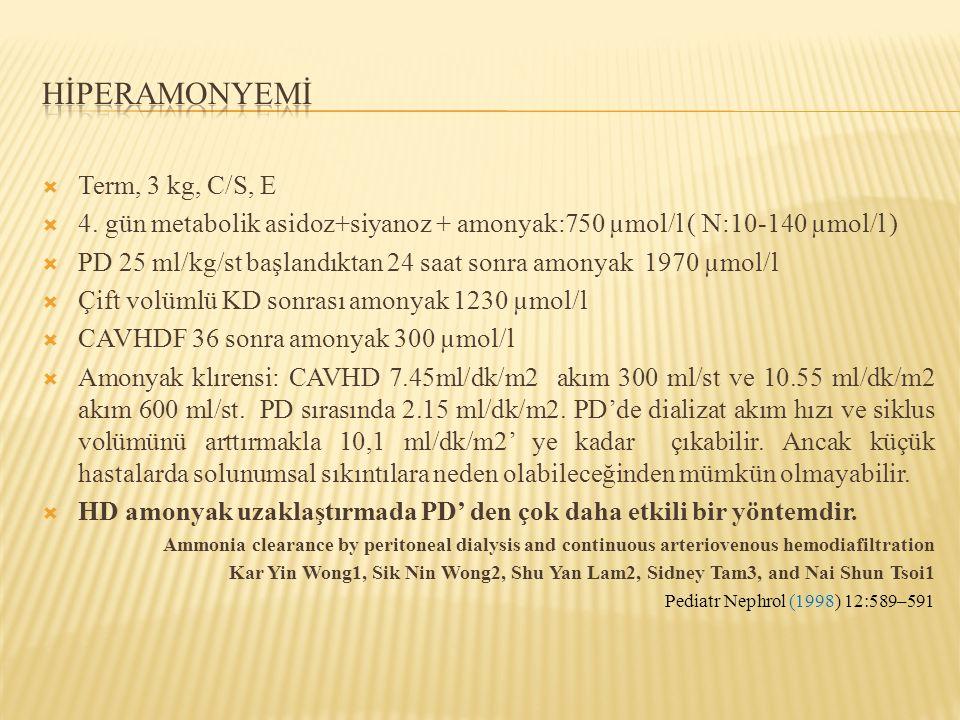  Term, 3 kg, C/S, E  4. gün metabolik asidoz+siyanoz + amonyak:750 µmol/l ( N:10-140 µmol/l )  PD 25 ml/kg/st başlandıktan 24 saat sonra amonyak 19