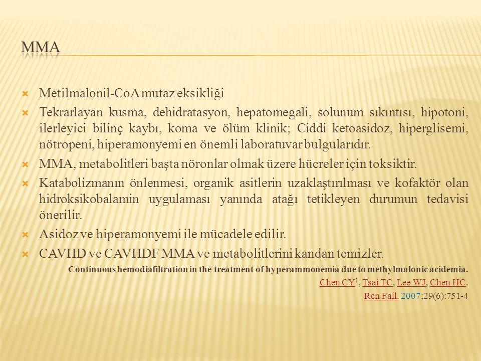  Metilmalonil-CoA mutaz eksikliği  Tekrarlayan kusma, dehidratasyon, hepatomegali, solunum sıkıntısı, hipotoni, ilerleyici bilinç kaybı, koma ve ölü