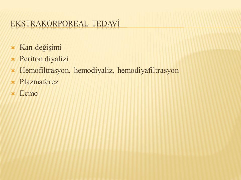  Kan değişimi  Periton diyalizi  Hemofiltrasyon, hemodiyaliz, hemodiyafiltrasyon  Plazmaferez  Ecmo