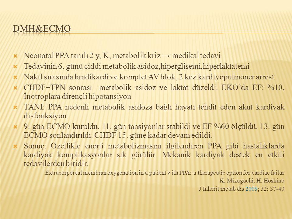  Neonatal PPA tanılı 2 y, K, metabolik kriz → medikal tedavi  Tedavinin 6. günü ciddi metabolik asidoz,hiperglisemi,hiperlaktatemi  Nakil sırasında