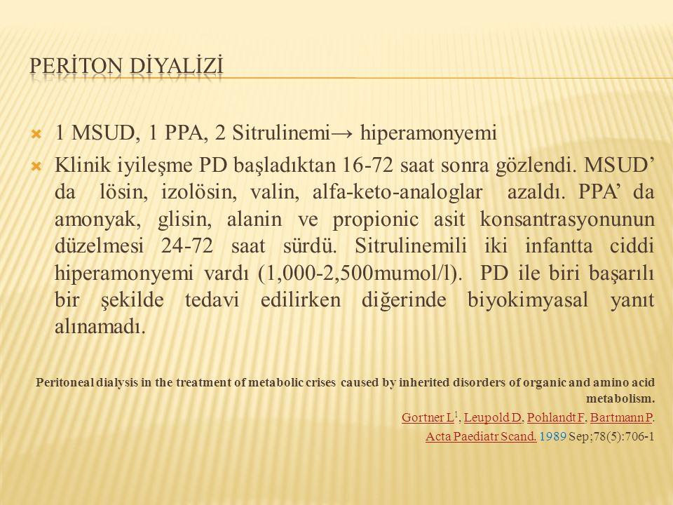  1 MSUD, 1 PPA, 2 Sitrulinemi→ hiperamonyemi  Klinik iyileşme PD başladıktan 16-72 saat sonra gözlendi. MSUD' da lösin, izolösin, valin, alfa-keto-a