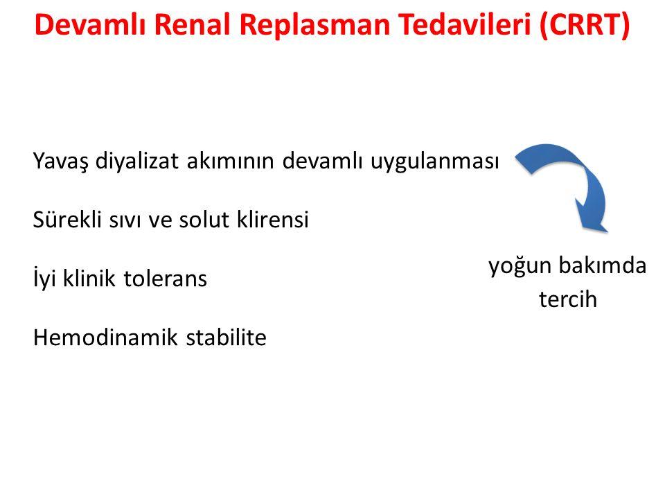 Yavaş diyalizat akımının devamlı uygulanması Sürekli sıvı ve solut klirensi İyi klinik tolerans Hemodinamik stabilite yoğun bakımda tercih Devamlı Renal Replasman Tedavileri (CRRT)