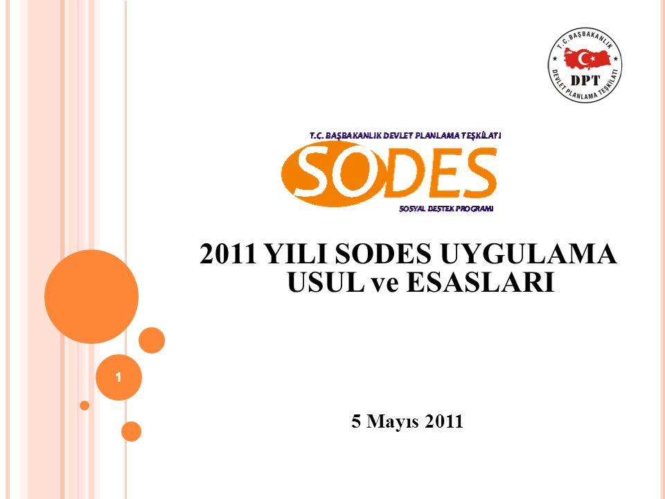 2011 YILI SODES UYGULAMA USUL ve ESASLARI 5 Mayıs 2011 1