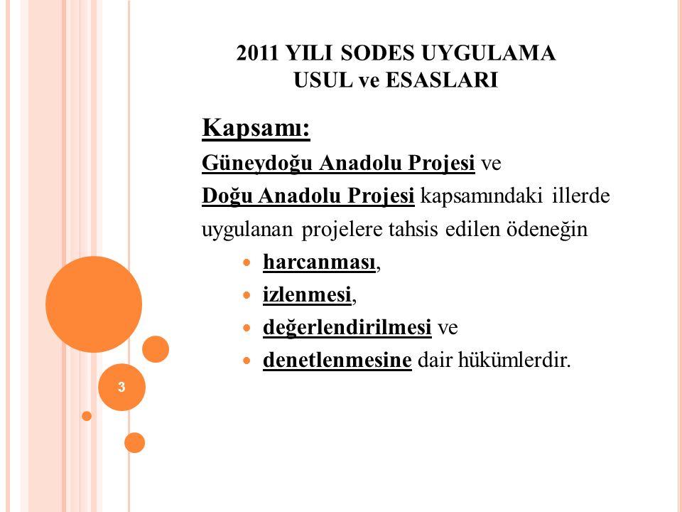 2011 YILI SODES UYGULAMA USUL ve ESASLARI Kapsamı: Güneydoğu Anadolu Projesi ve Doğu Anadolu Projesi kapsamındaki illerde uygulanan projelere tahsis edilen ödeneğin harcanması, izlenmesi, değerlendirilmesi ve denetlenmesine dair hükümlerdir.