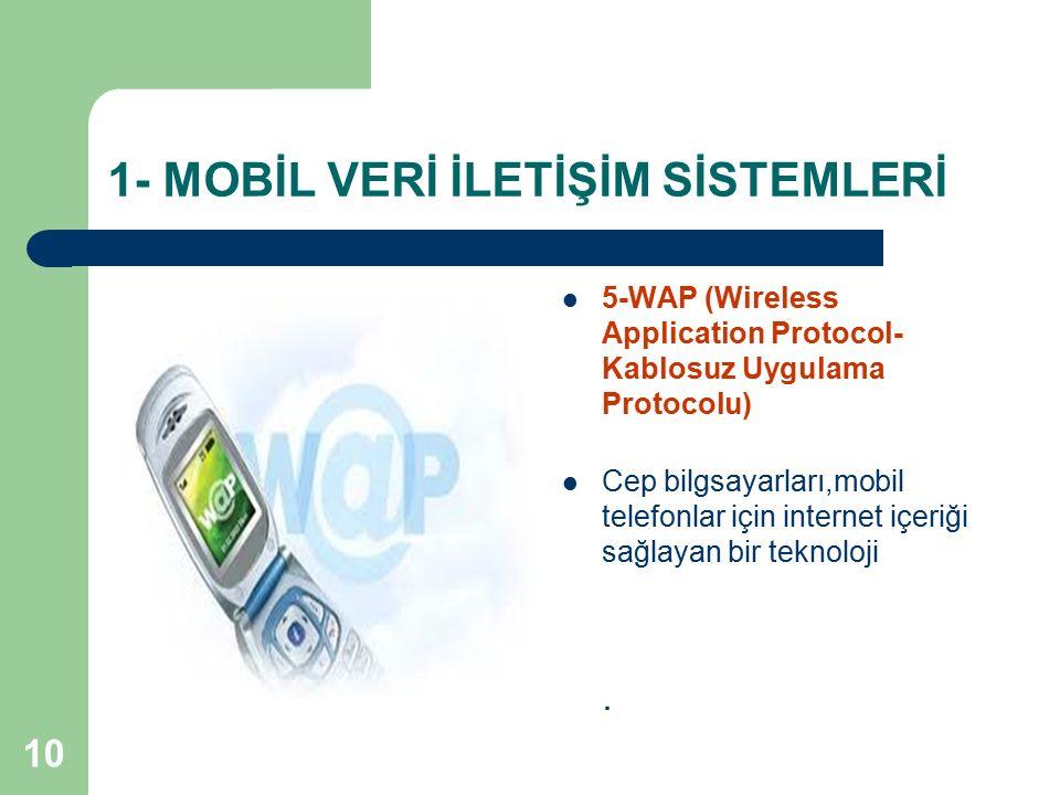 10 1- MOBİL VERİ İLETİŞİM SİSTEMLERİ 5-WAP (Wireless Application Protocol- Kablosuz Uygulama Protocolu) Cep bilgsayarları,mobil telefonlar için intern