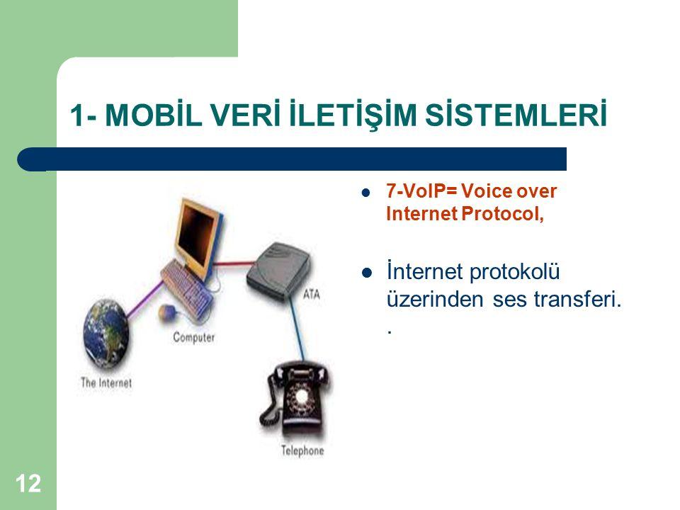 12 1- MOBİL VERİ İLETİŞİM SİSTEMLERİ 7-VoIP= Voice over Internet Protocol, İnternet protokolü üzerinden ses transferi..
