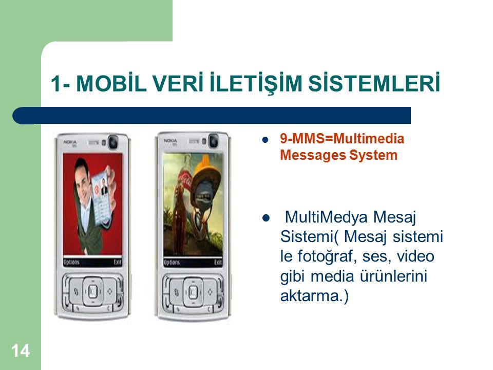 14 1- MOBİL VERİ İLETİŞİM SİSTEMLERİ 9-MMS=Multimedia Messages System MultiMedya Mesaj Sistemi( Mesaj sistemi le fotoğraf, ses, video gibi media ürünl