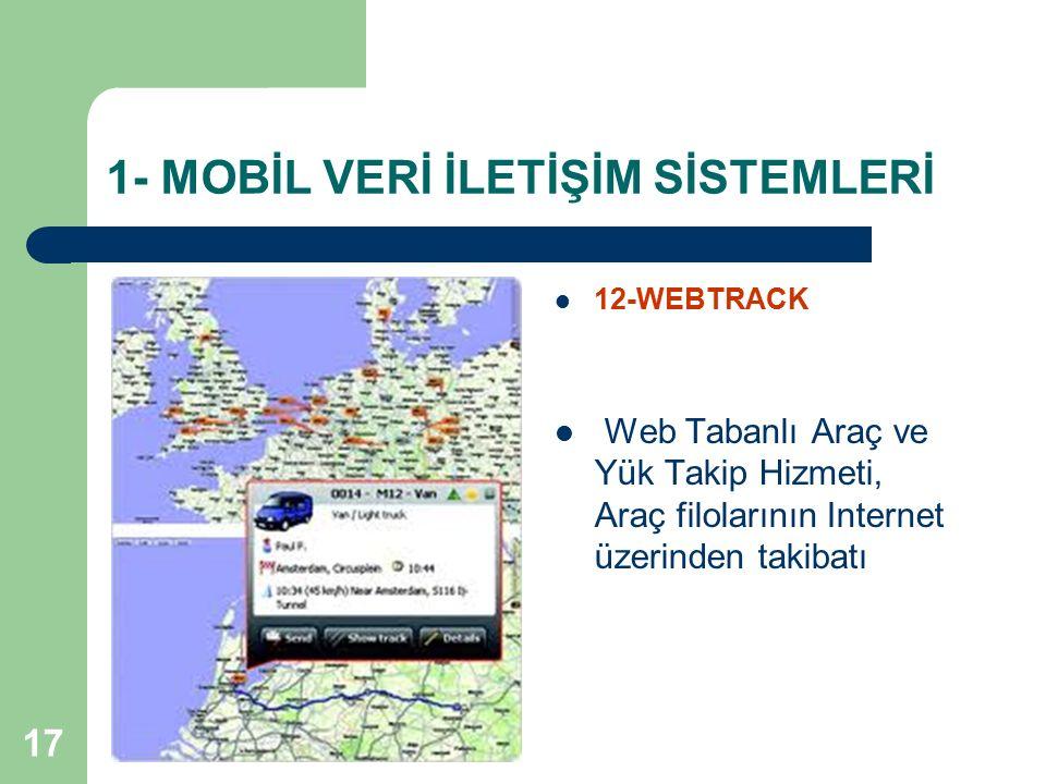 17 1- MOBİL VERİ İLETİŞİM SİSTEMLERİ 12-WEBTRACK Web Tabanlı Araç ve Yük Takip Hizmeti, Araç filolarının Internet üzerinden takibatı