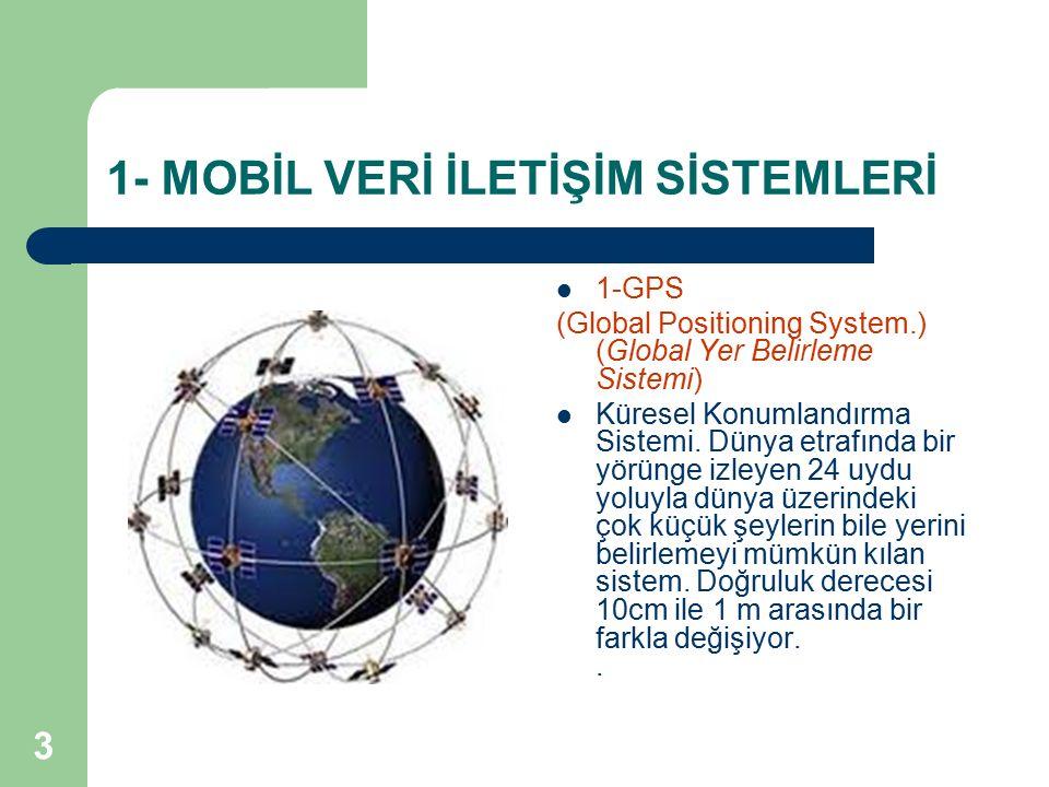 3 1- MOBİL VERİ İLETİŞİM SİSTEMLERİ 1-GPS (Global Positioning System.) (Global Yer Belirleme Sistemi) Küresel Konumlandırma Sistemi. Dünya etrafında b
