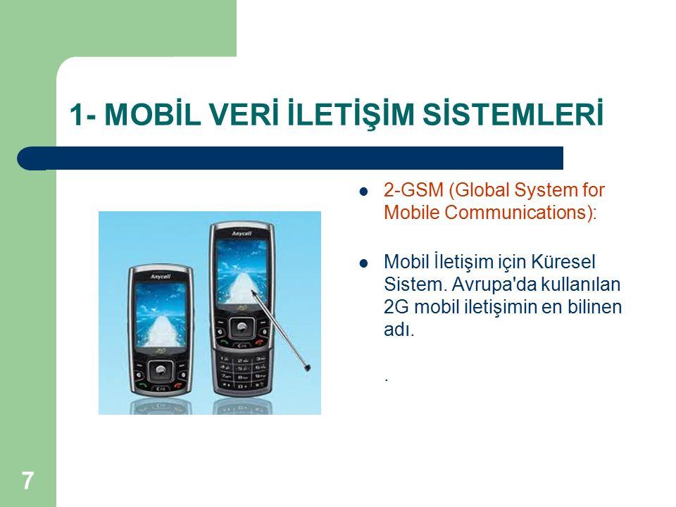7 2-GSM (Global System for Mobile Communications): Mobil İletişim için Küresel Sistem. Avrupa'da kullanılan 2G mobil iletişimin en bilinen adı..