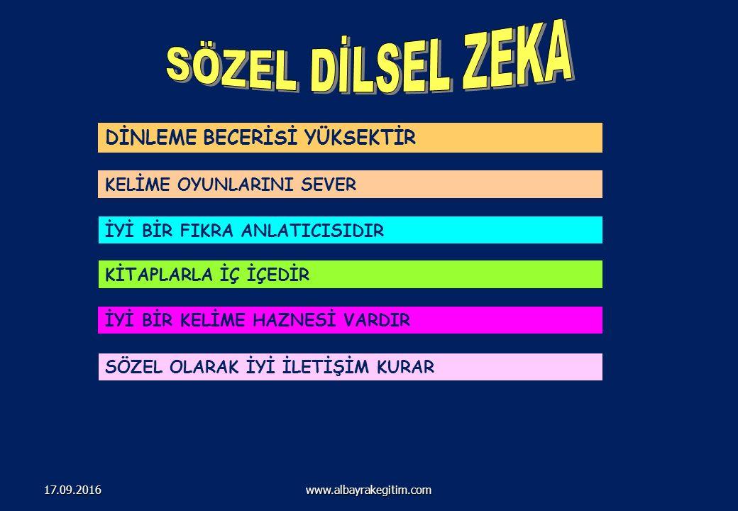201 Çoklu ZEKA ALANLARI www.albayrakegitim.com17.09.2016
