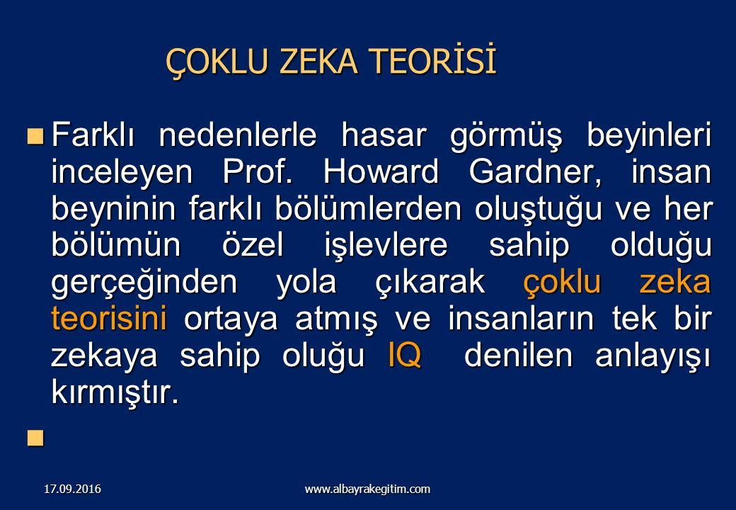 ÇOKLU ZEKA KURAMI ( GARDNER) www.albayrakegitim.com17.09.2016