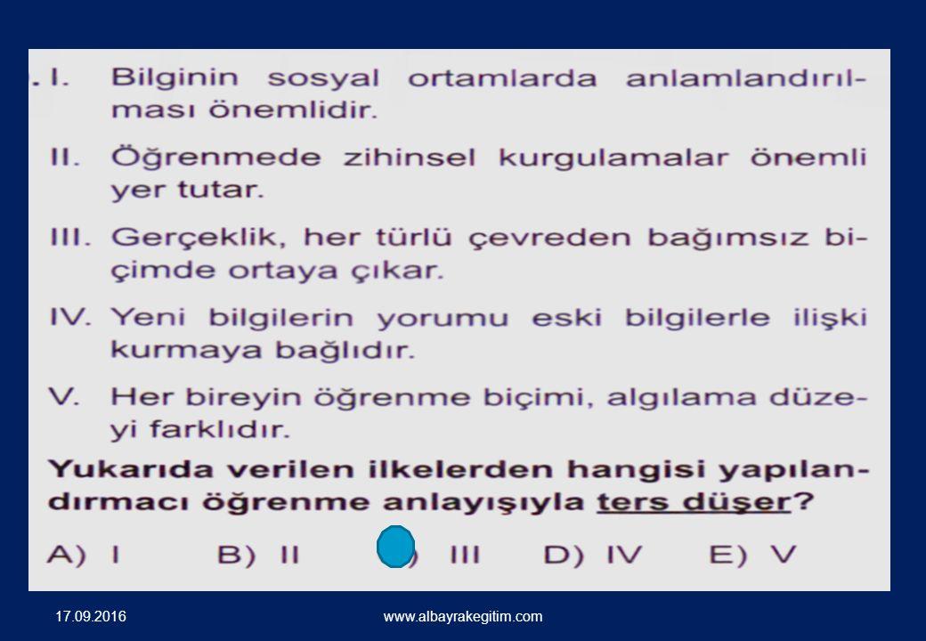 SORU ÖRNEKLERİ 17.09.2016 www.albayrakegitim.com