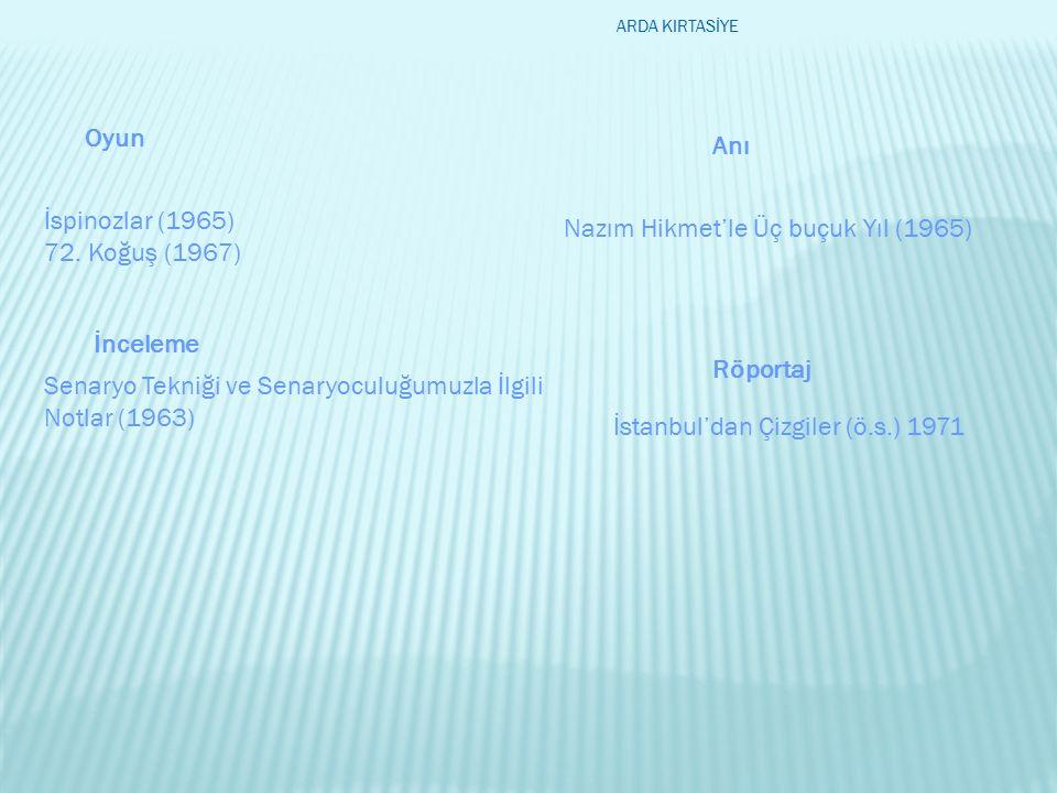 İspinozlar (1965) 72. Koğuş (1967) Nazım Hikmet'le Üç buçuk Yıl (1965) Senaryo Tekniği ve Senaryoculuğumuzla İlgili Notlar (1963) İstanbul'dan Çizgile