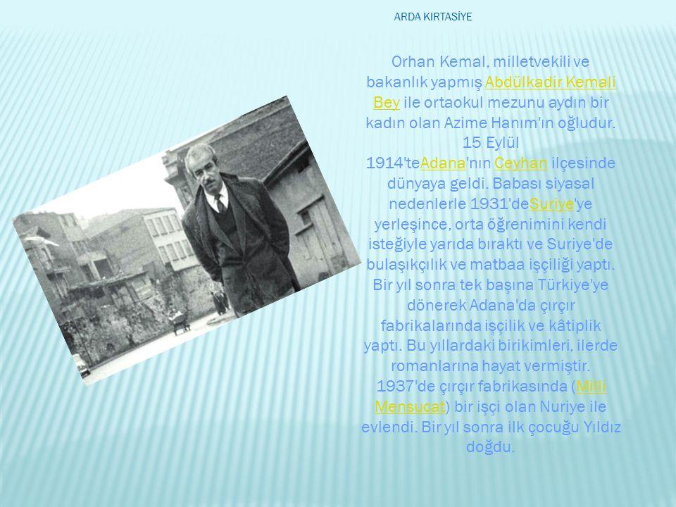 Orhan Kemal, milletvekili ve bakanlık yapmış Abdülkadir Kemali Bey ile ortaokul mezunu aydın bir kadın olan Azime Hanım'ın oğludur. 15 Eylül 1914'teAd