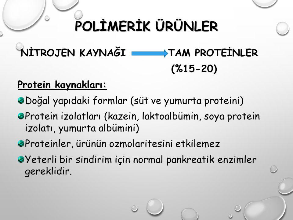 POLİMERİK ÜRÜNLER NİTROJEN KAYNAĞI TAM PROTEİNLER (%15-20) Protein kaynakları: Doğal yapıdaki formlar (süt ve yumurta proteini) Protein izolatları (ka