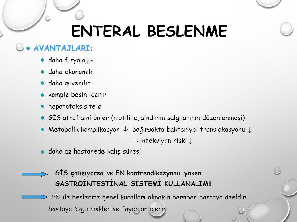 HASTALIĞA ÖZGÜ ÜRÜNLER Gastrointestinal Disfonksiyon Ürünleri: Pankreatik yetmezlik, kısa bağırsak sendromu, İBH Hidrolize veya peptid içeren yarı hidrolize ürünler (yarı veya tam sindirilmiş) Bağırsak rehabilitasyonuna yönelik glutamin ve çözünür lif eklenmiş ürünler (İmpact glutamine) Glutaminin, enterosit sayısını ve farklılaşmasını arttırarak intestinal bariyeri geliştirdiği öne sürülmüştür.