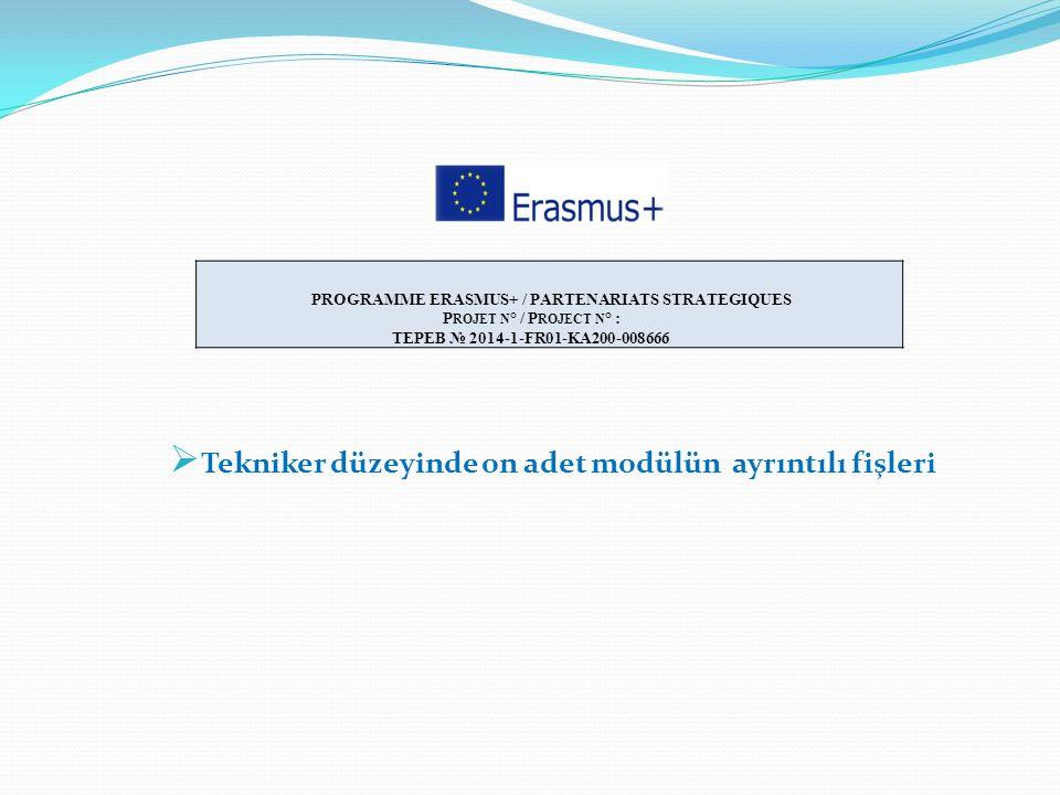  Tekniker düzeyinde on adet modülün ayrıntılı fişleri PROGRAMME ERASMUS+ / PARTENARIATS STRATEGIQUES P ROJET N ° / P ROJECT N ° : TEPEB № 2014-1-FR01
