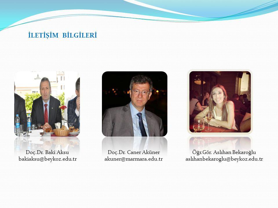 İLETİŞİM BİLGİLERİ Doç.Dr. Baki Aksu bakiaksu@beykoz.edu.tr Doç.Dr. Caner Aküner akuner@marmara.edu.tr Öğr.Gör. Aslıhan Bekaroğlu aslıhanbekaroglu@bey