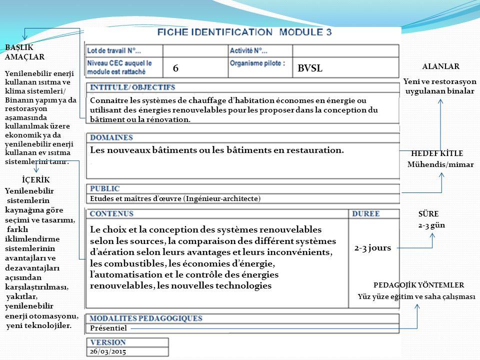  Mühendislik düzeyinde üç adet modülün ayrıntılı fişleri PROGRAMME ERASMUS+ / PARTENARIATS STRATEGIQUES P ROJET N ° / P ROJECT N ° : TEPEB № 2014-1-FR01-KA200-008666