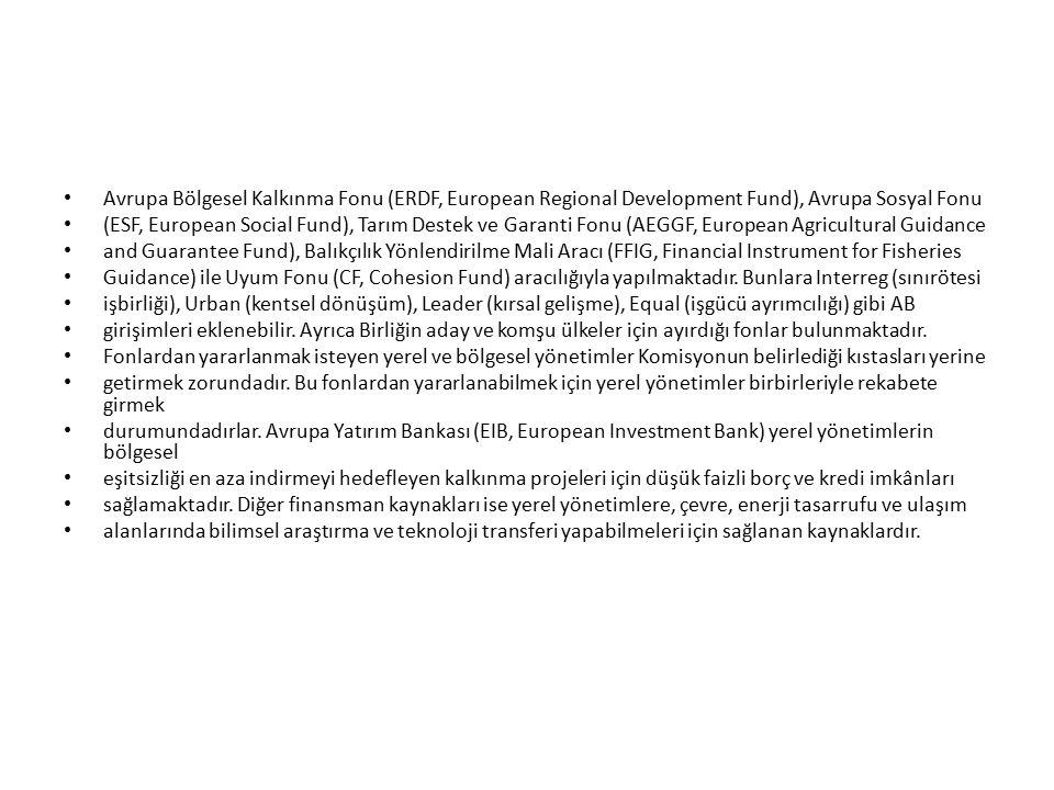 Avrupa Bölgesel Kalkınma Fonu (ERDF, European Regional Development Fund), Avrupa Sosyal Fonu (ESF, European Social Fund), Tarım Destek ve Garanti Fonu (AEGGF, European Agricultural Guidance and Guarantee Fund), Balıkçılık Yönlendirilme Mali Aracı (FFIG, Financial Instrument for Fisheries Guidance) ile Uyum Fonu (CF, Cohesion Fund) aracılığıyla yapılmaktadır.