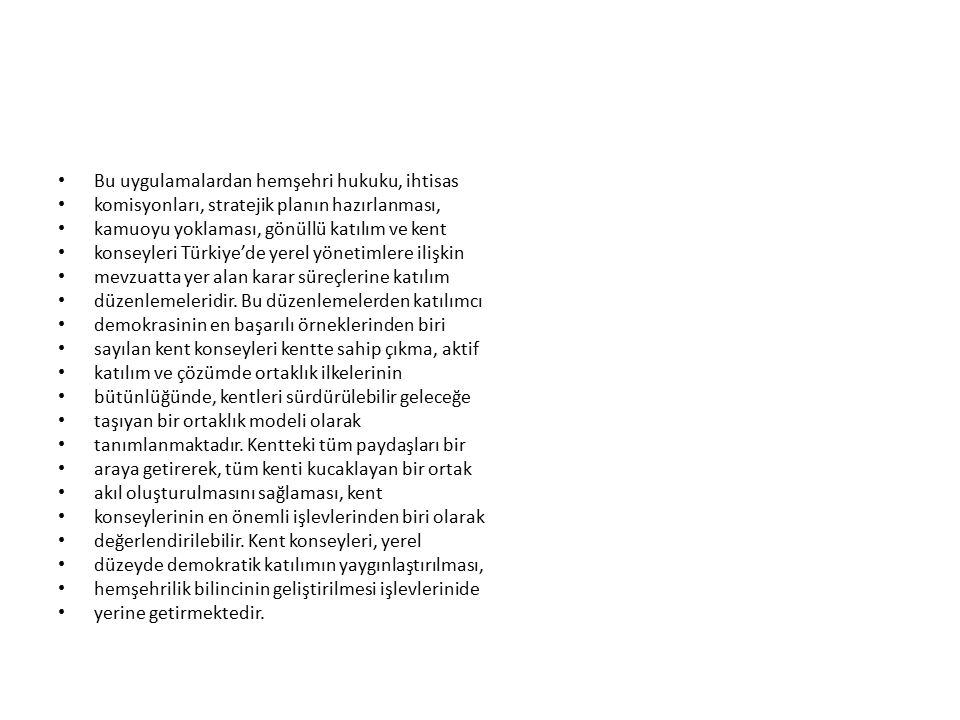 Bu uygulamalardan hemşehri hukuku, ihtisas komisyonları, stratejik planın hazırlanması, kamuoyu yoklaması, gönüllü katılım ve kent konseyleri Türkiye'de yerel yönetimlere ilişkin mevzuatta yer alan karar süreçlerine katılım düzenlemeleridir.