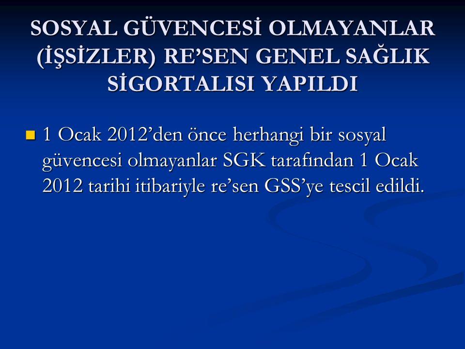 SOSYAL GÜVENCESİ OLMAYANLAR (İŞSİZLER) RE'SEN GENEL SAĞLIK SİGORTALISI YAPILDI 1 Ocak 2012'den önce herhangi bir sosyal güvencesi olmayanlar SGK taraf