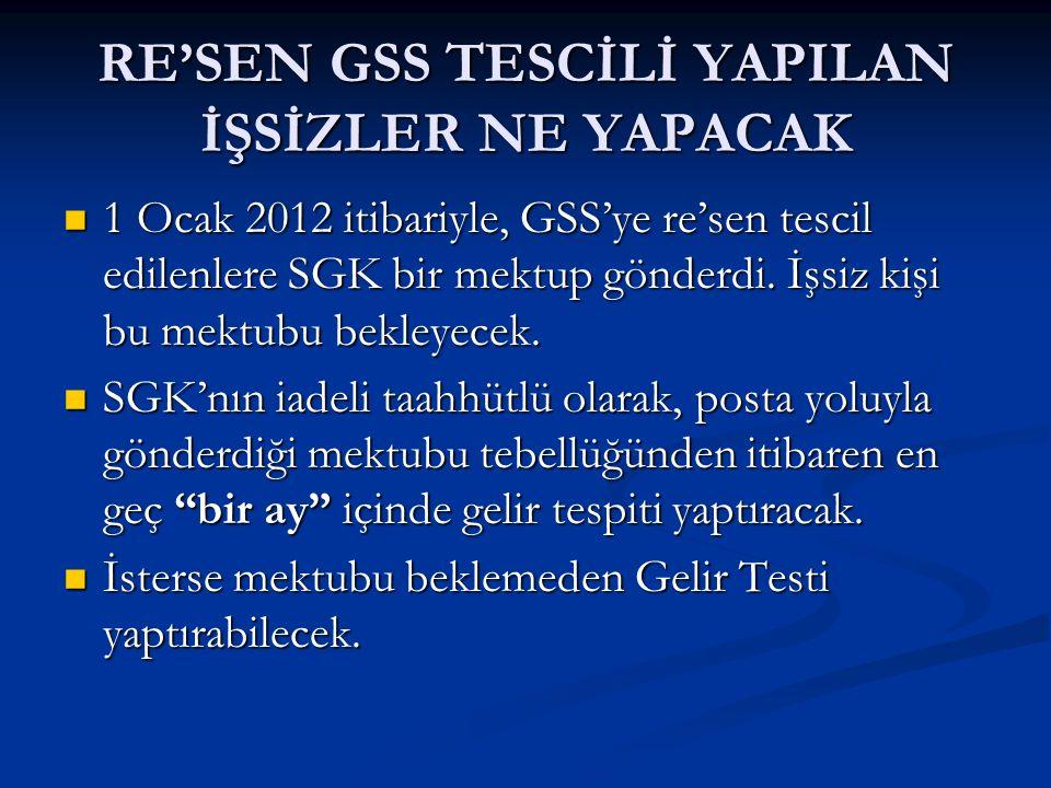 RE'SEN GSS TESCİLİ YAPILAN İŞSİZLER NE YAPACAK 1 Ocak 2012 itibariyle, GSS'ye re'sen tescil edilenlere SGK bir mektup gönderdi. İşsiz kişi bu mektubu