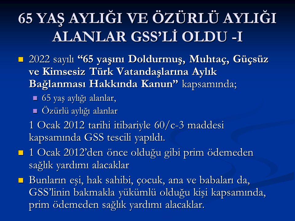 """65 YAŞ AYLIĞI VE ÖZÜRLÜ AYLIĞI ALANLAR GSS'Lİ OLDU -I 2022 sayılı """"65 yaşını Doldurmuş, Muhtaç, Güçsüz ve Kimsesiz Türk Vatandaşlarına Aylık Bağlanmas"""