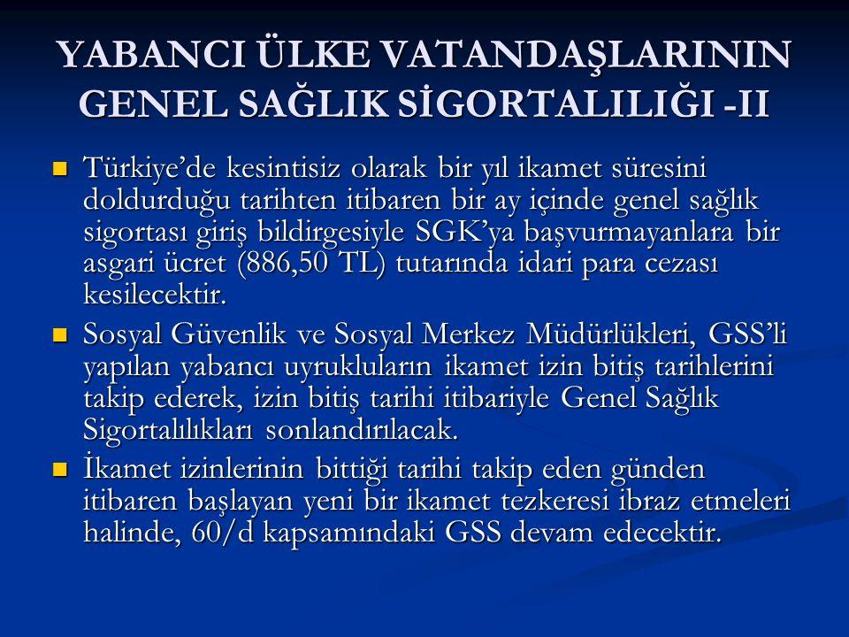 YABANCI ÜLKE VATANDAŞLARININ GENEL SAĞLIK SİGORTALILIĞI -II Türkiye'de kesintisiz olarak bir yıl ikamet süresini doldurduğu tarihten itibaren bir ay i