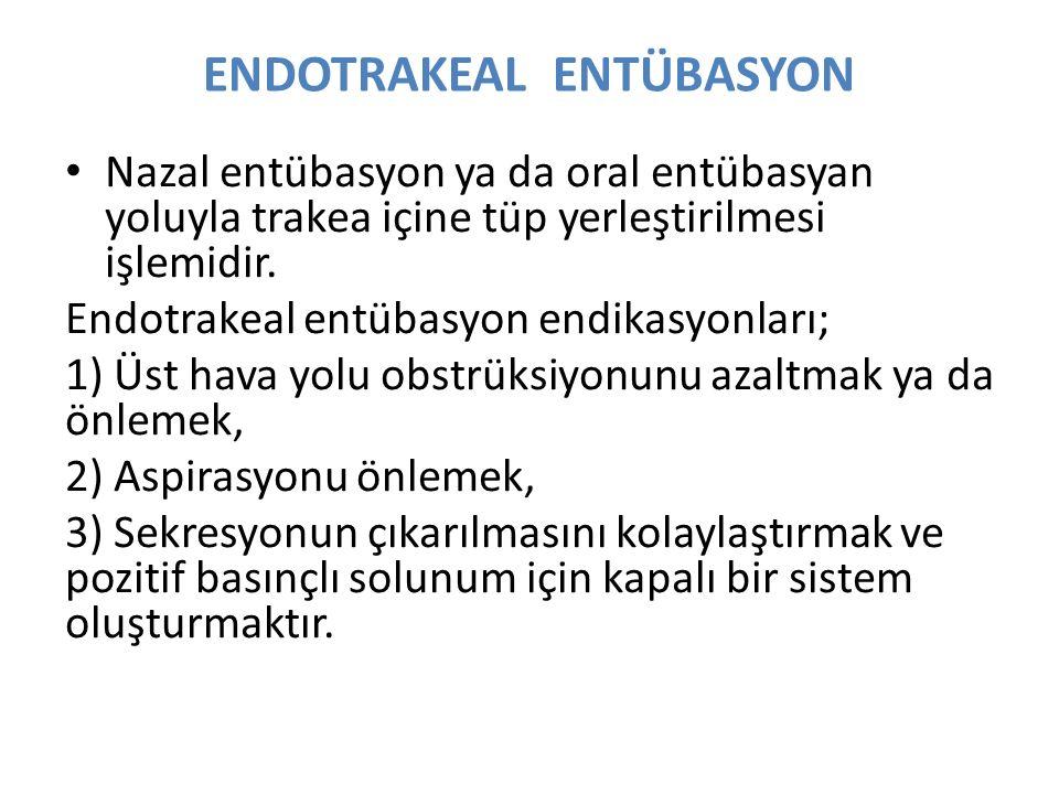 ENDOTRAKEAL ENTÜBASYON Nazal entübasyon ya da oral entübasyan yoluyla trakea içine tüp yerleştirilmesi işlemidir.