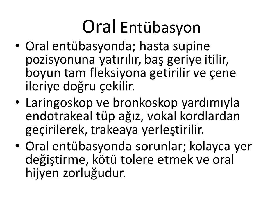 Oral Entübasyon Oral entübasyonda; hasta supine pozisyonuna yatırılır, baş geriye itilir, boyun tam fleksiyona getirilir ve çene ileriye doğru çekilir.