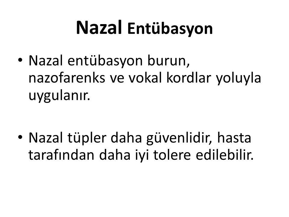 Nazal Entübasyon Nazal entübasyon burun, nazofarenks ve vokal kordlar yoluyla uygulanır.
