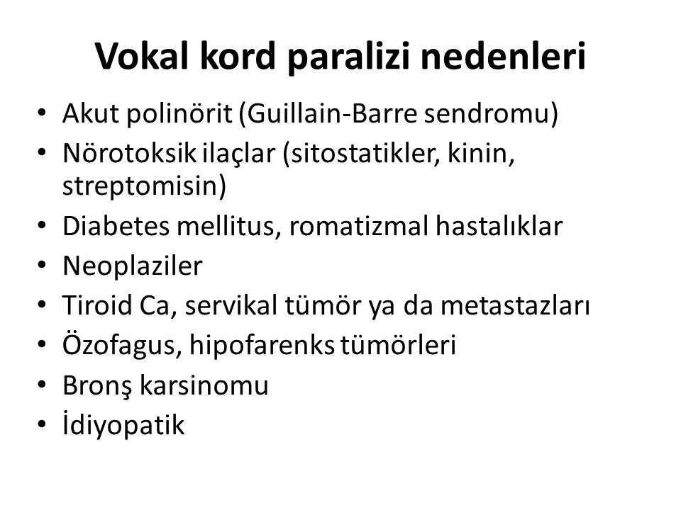 Vokal kord paralizi nedenleri Akut polinörit (Guillain-Barre sendromu) Nörotoksik ilaçlar (sitostatikler, kinin, streptomisin) Diabetes mellitus, romatizmal hastalıklar Neoplaziler Tiroid Ca, servikal tümör ya da metastazları Özofagus, hipofarenks tümörleri Bronş karsinomu İdiyopatik