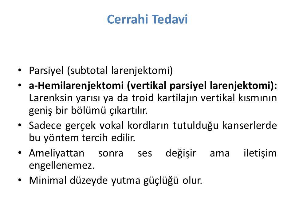 Cerrahi Tedavi Parsiyel (subtotal larenjektomi) a-Hemilarenjektomi (vertikal parsiyel larenjektomi): Larenksin yarısı ya da troid kartilajın vertikal kısmının geniş bir bölümü çıkartılır.