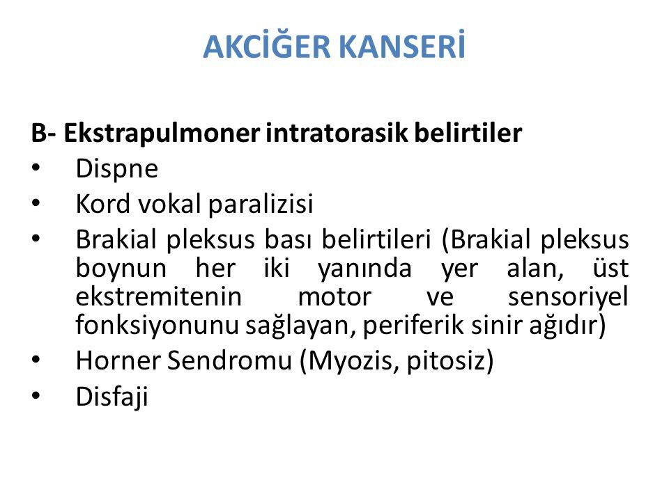 AKCİĞER KANSERİ B- Ekstrapulmoner intratorasik belirtiler Dispne Kord vokal paralizisi Brakial pleksus bası belirtileri (Brakial pleksus boynun her iki yanında yer alan, üst ekstremitenin motor ve sensoriyel fonksiyonunu sağlayan, periferik sinir ağıdır) Horner Sendromu (Myozis, pitosiz) Disfaji