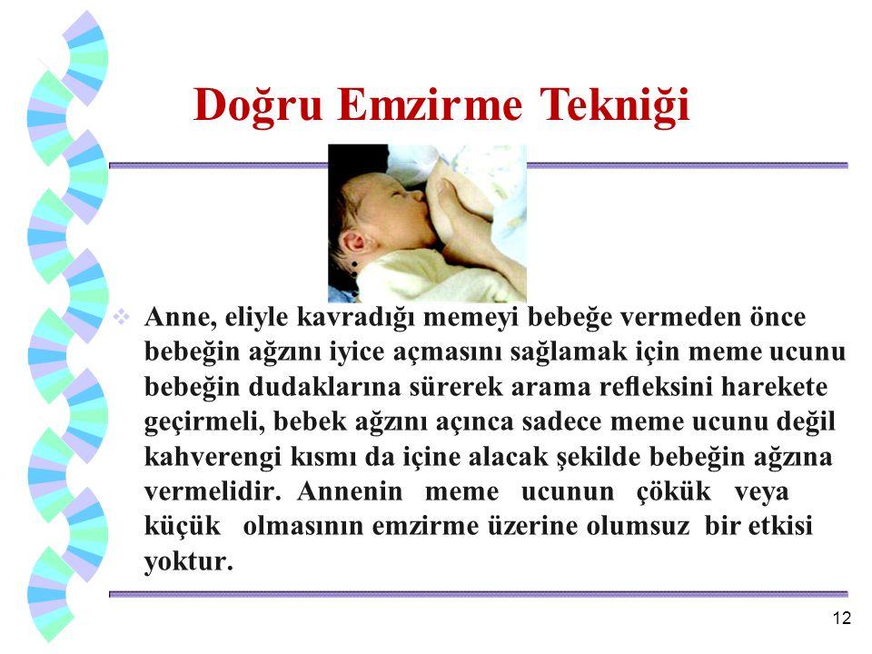  Anne, eliyle kavradığı memeyi bebeğe vermeden önce bebeğin ağzını iyice açmasını sağlamak için meme ucunu bebeğin dudaklarına sürerek arama refleksin