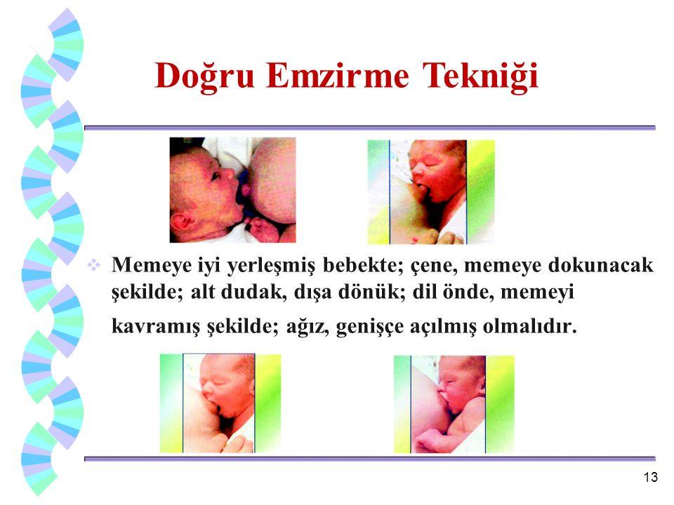  Memeye iyi yerleşmiş bebekte; çene, memeye dokunacak şekilde; alt dudak, dışa dönük; dil önde, memeyi kavramış şekilde; ağız, genişçe açılmış olmalı