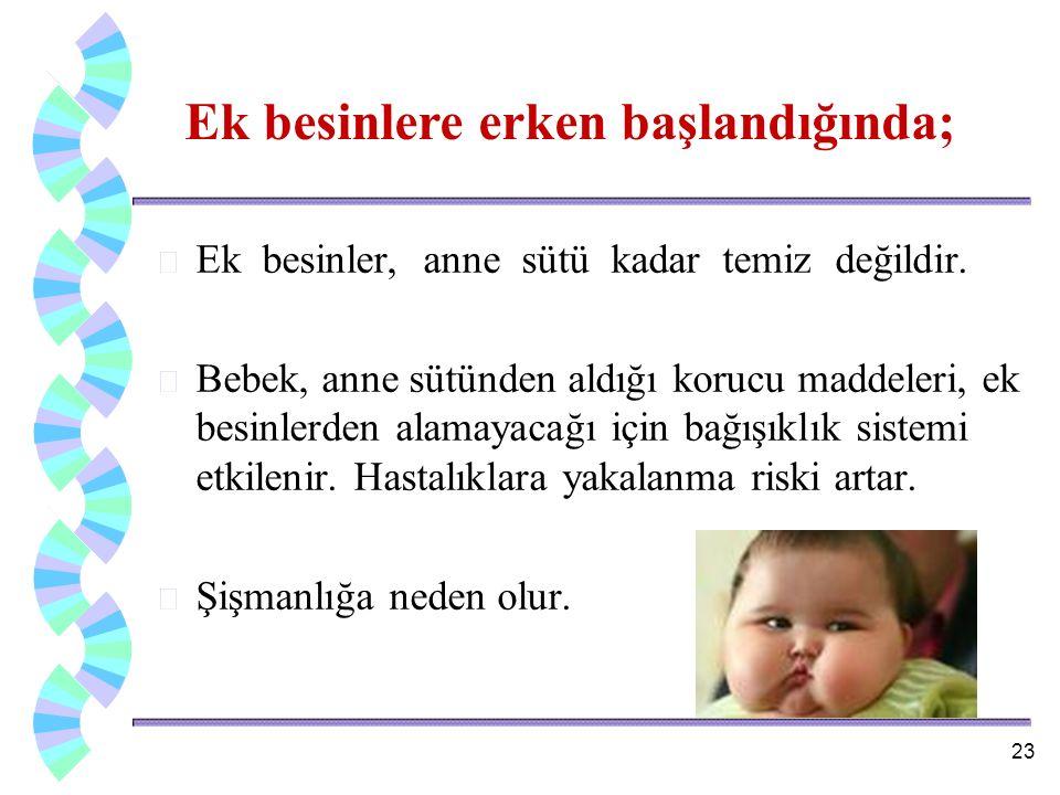 w Ek besinler, anne sütü kadar temiz değildir. w Bebek, anne sütünden aldığı korucu maddeleri, ek besinlerden alamayacağı için bağışıklık sistemi etki