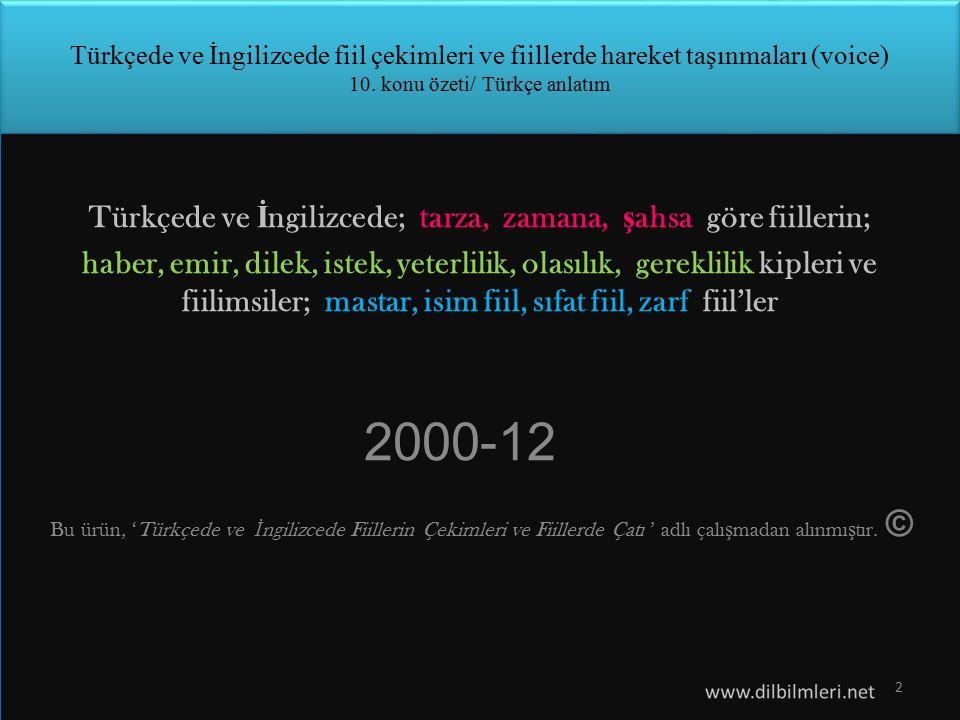 Zamanlar (times) 1.Türkçede fiil -dı ekini almışsa (çalış-tı/ -yordu/ -mıştı/ -maktaydı…) hareket geçmiş zamandadır.